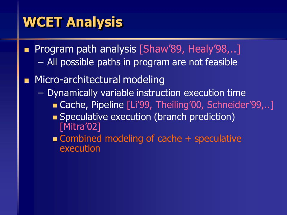WCET Analysis Program path analysis [Shaw'89, Healy'98,..]